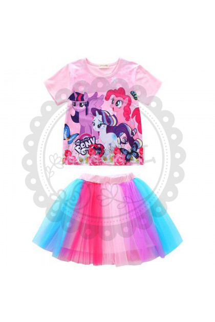 Comel My Little Pony Top and Rainbow Skirt Set