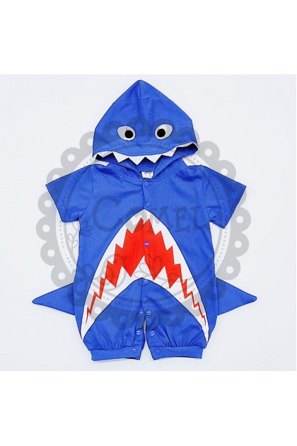 Comel Boys Girls Baby Shark Costume Romper Cosplay Outfit