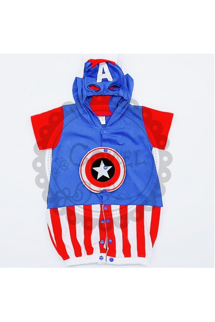 Comel Boys Girls Captain America Costume Romper Cosplay Outfit